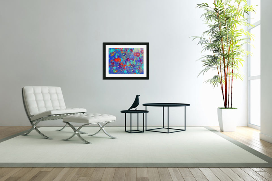 Cosmos Flowers Blue Red in Custom Picture Frame