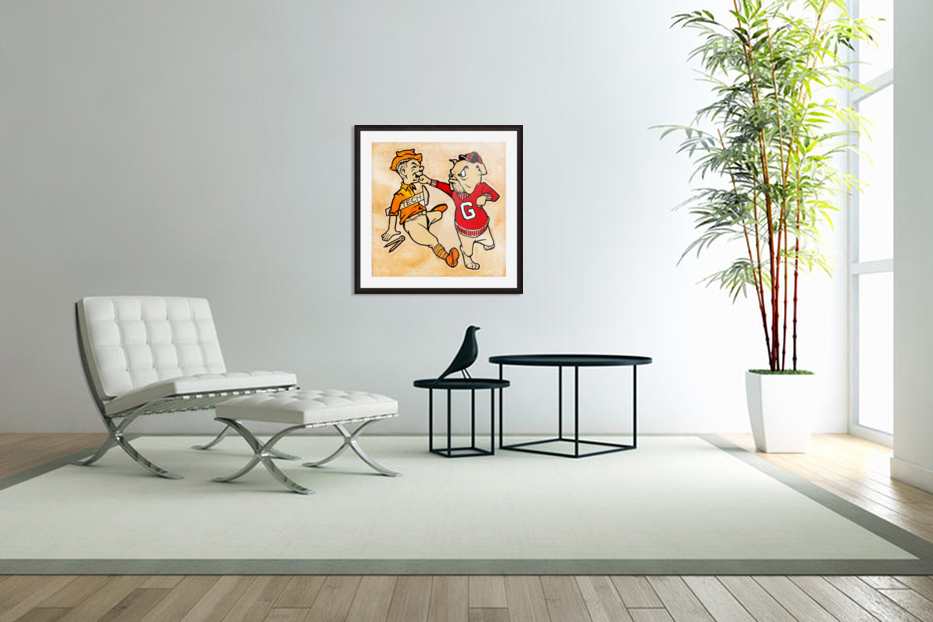 Vintage Georgia Bulldog Punching Tech Engineer College Canvas Print Wood in Custom Picture Frame
