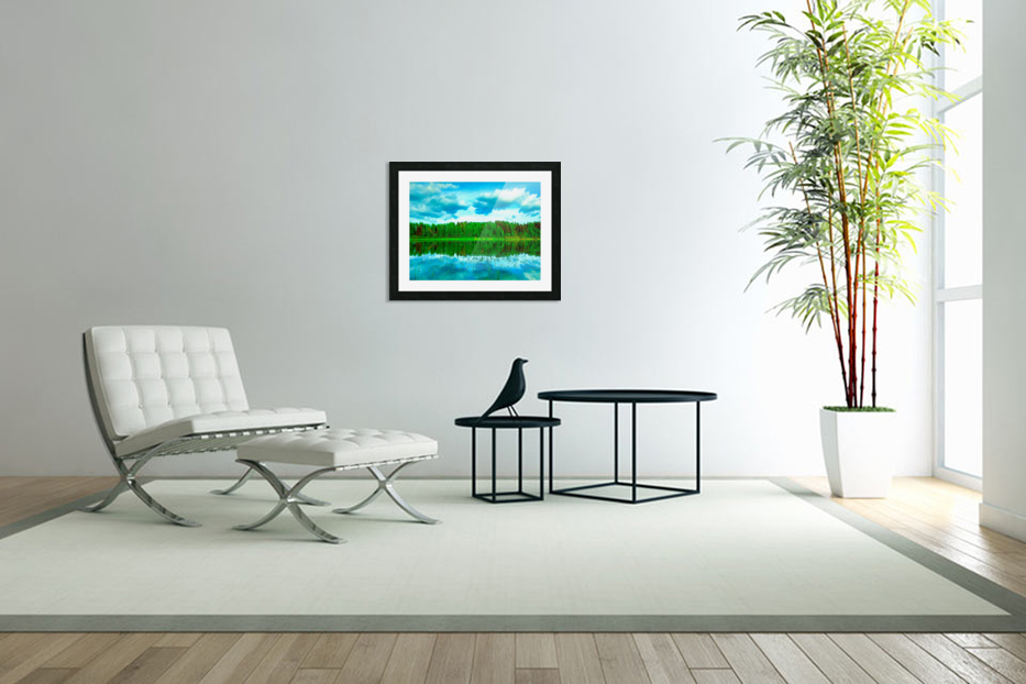 Forest beyond the lake in Custom Picture Frame