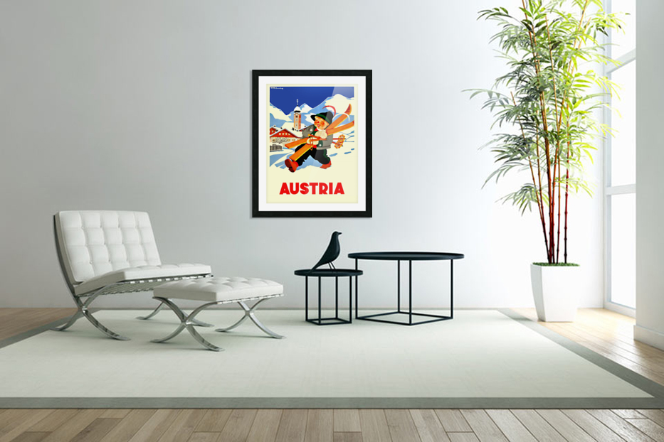 Little Skier from Austria in Custom Picture Frame