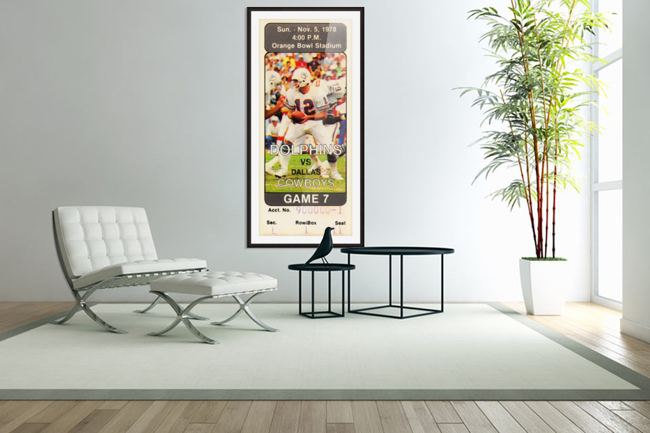 1978 miami dolphins dallas cowboys ticket art in Custom Picture Frame