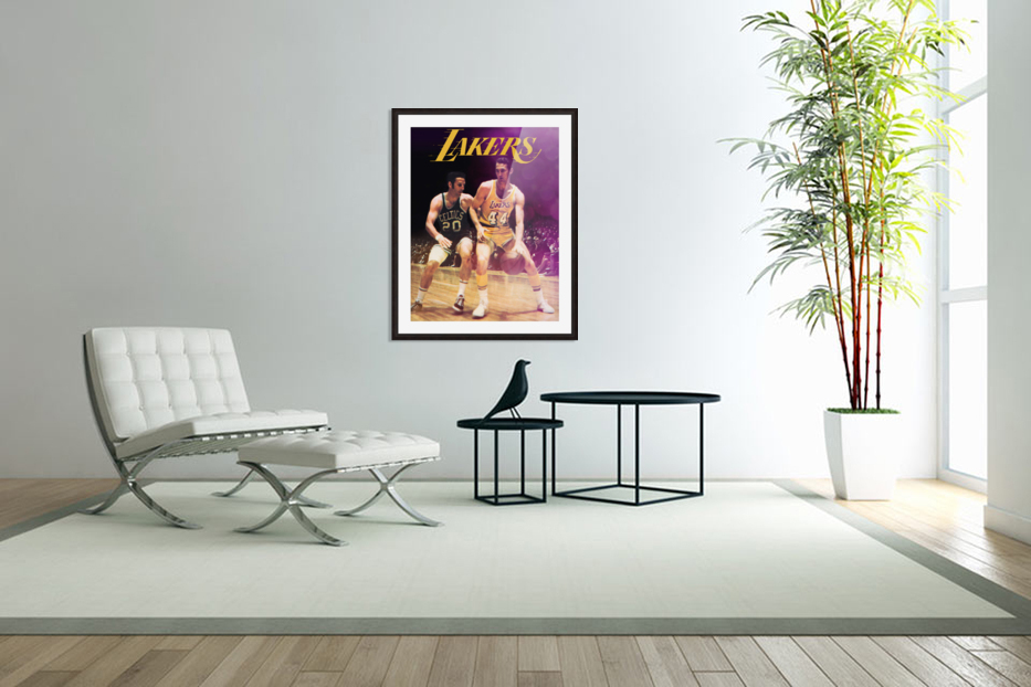1969 los angeles la lakers jerry west poster in Custom Picture Frame