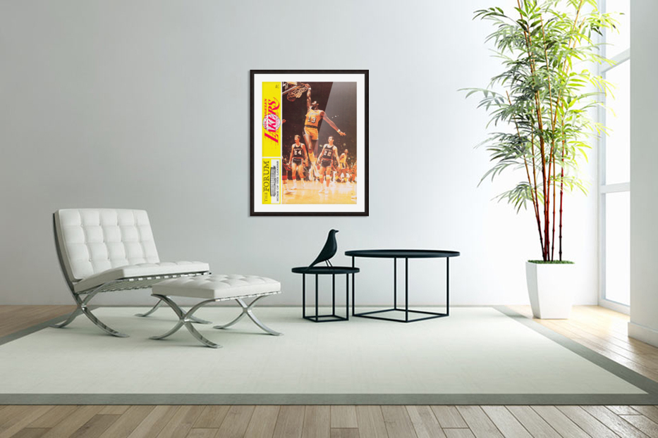 1968 la lakers basketball poster wilt chamberlain dunk photo in Custom Picture Frame