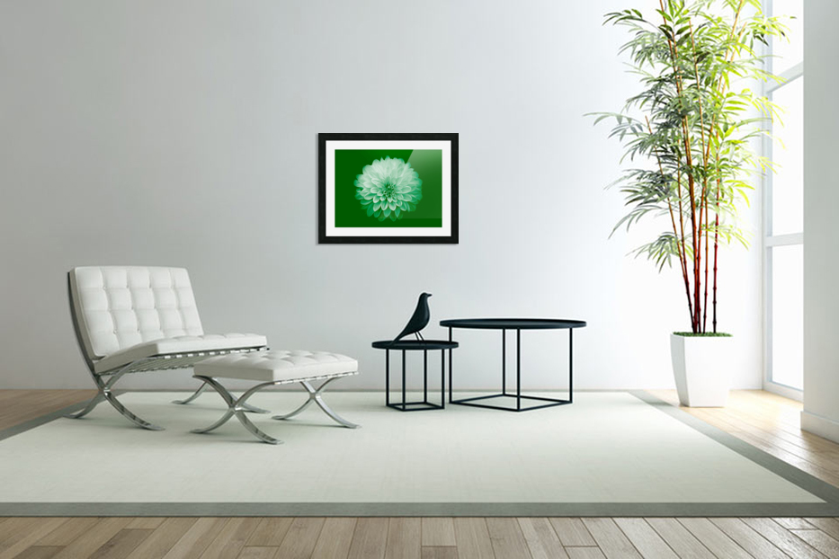 Dahlia on Green in Custom Picture Frame