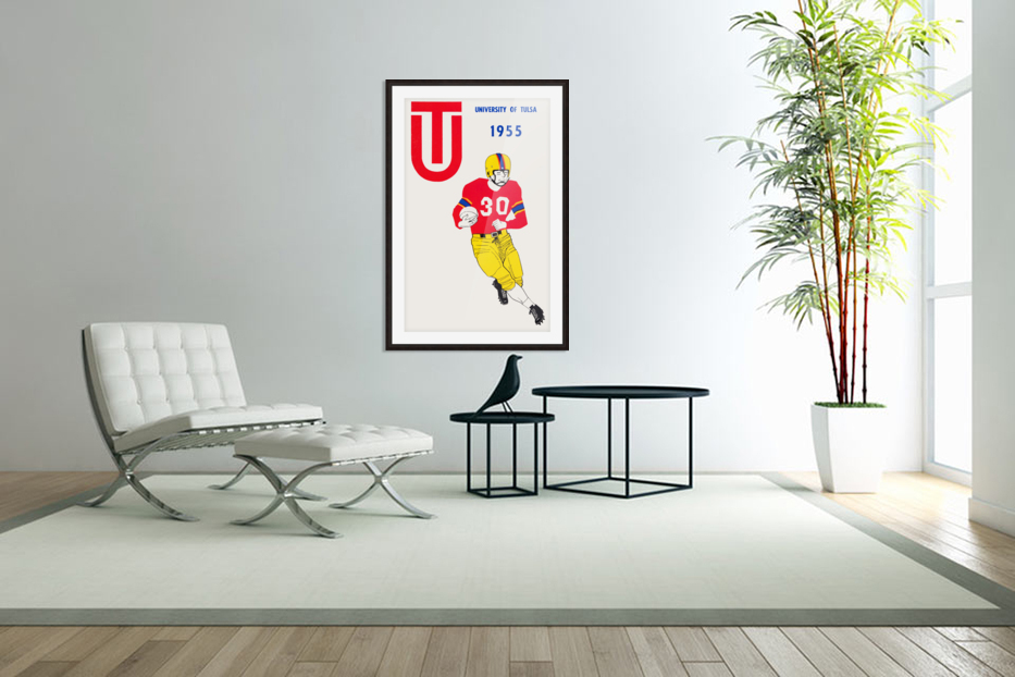 1955 university of tulsa football poster in Custom Picture Frame