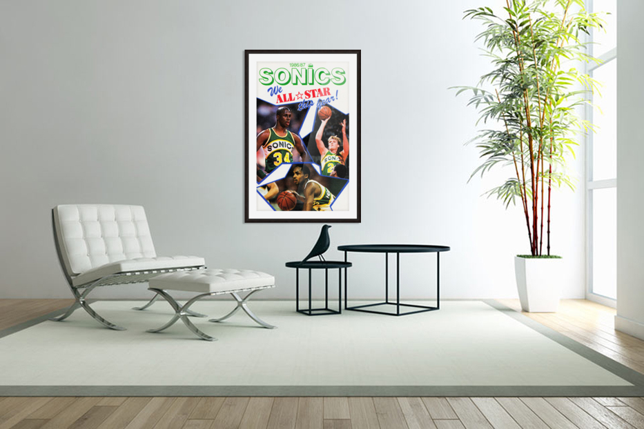 1987 seattle supersonics nba all star game poster in Custom Picture Frame