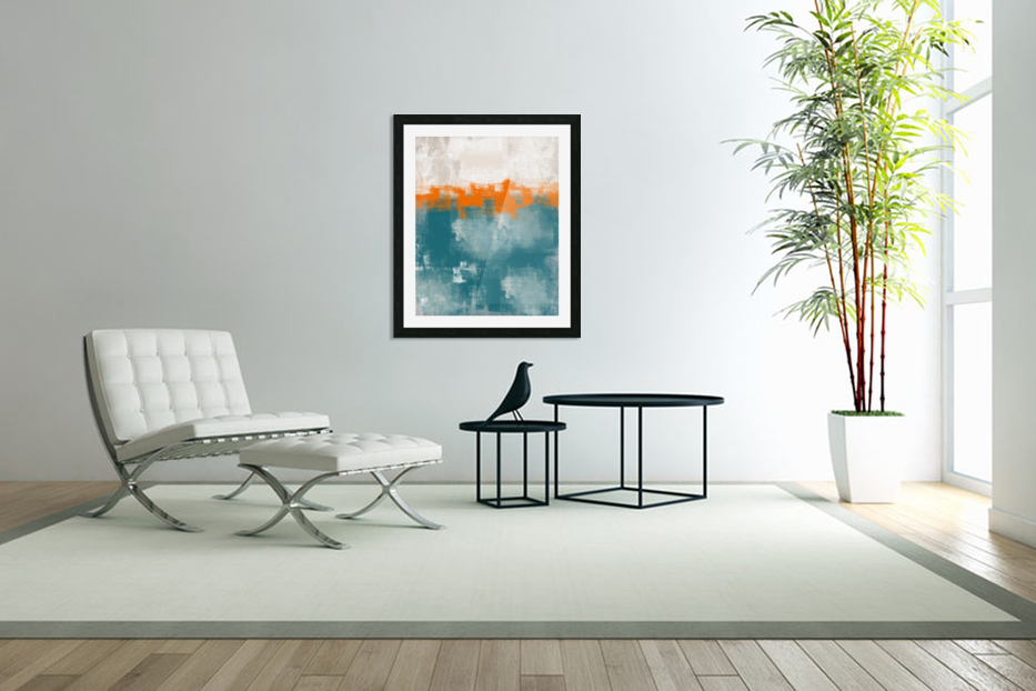 Blue Gray Orange Abstract DAP 20014 in Custom Picture Frame