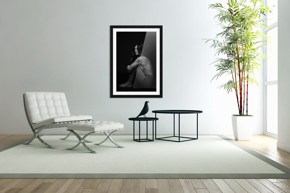 Black and White Woman Portrait 1 in Custom Picture Frame