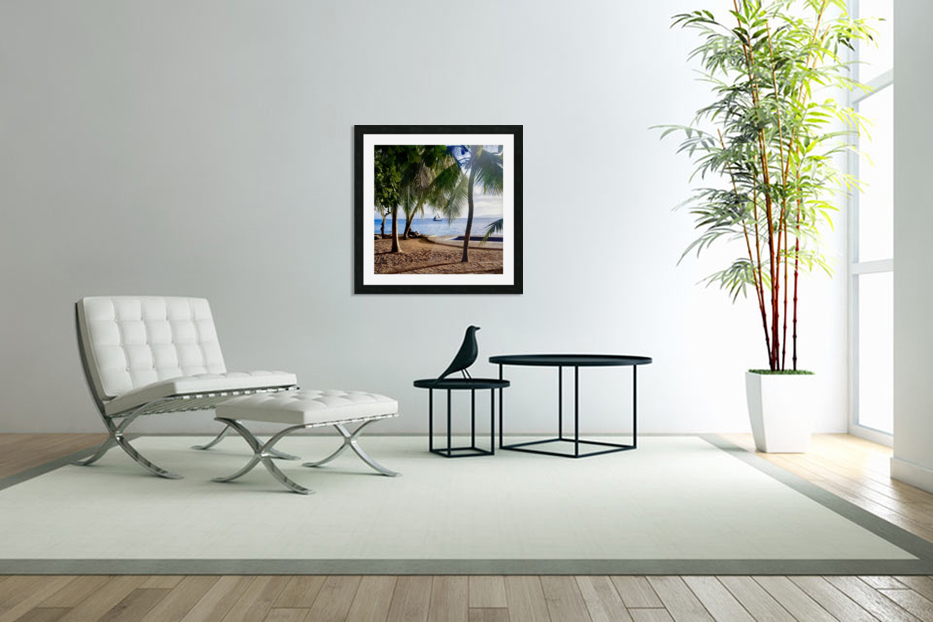 Sailboat And Palms in Custom Picture Frame