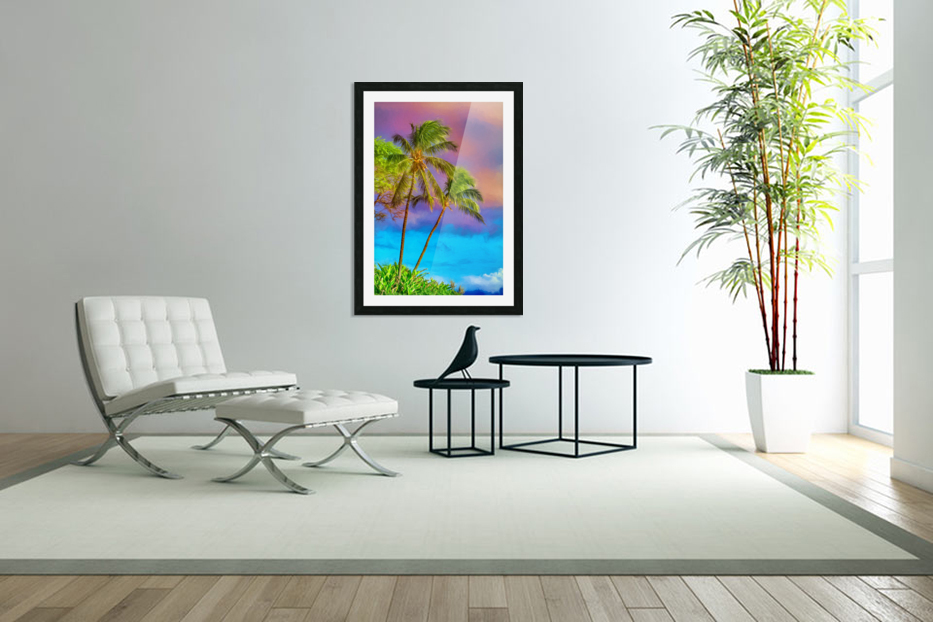 Palms Against The Sky in Custom Picture Frame