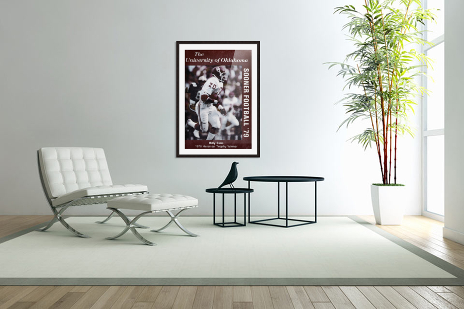 1979 billy sims oklahoma sooners football poster in Custom Picture Frame