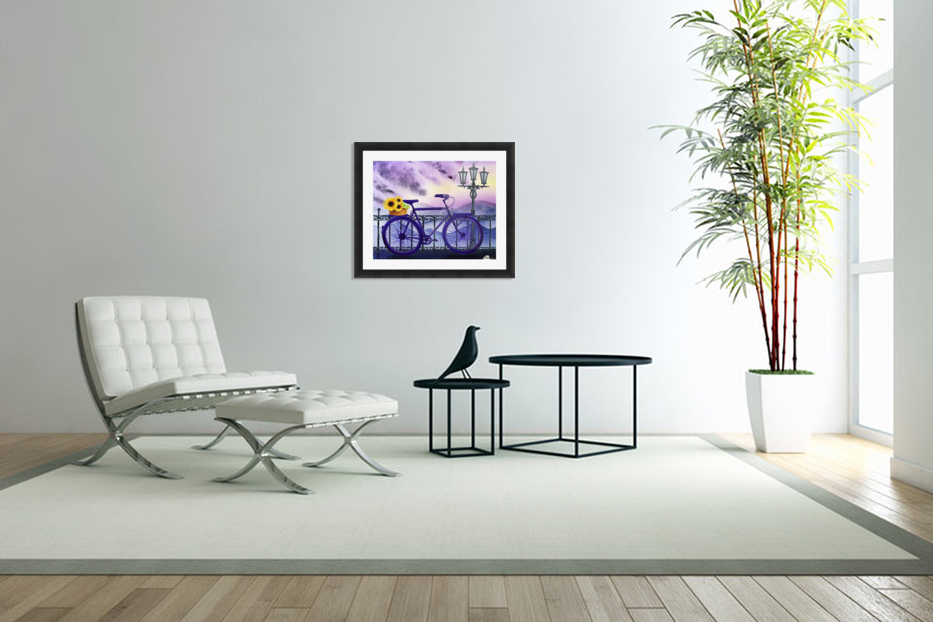 Bicycle And Sunflowers in Custom Picture Frame