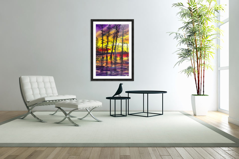 Bright Sunset Through The Trees in Custom Picture Frame