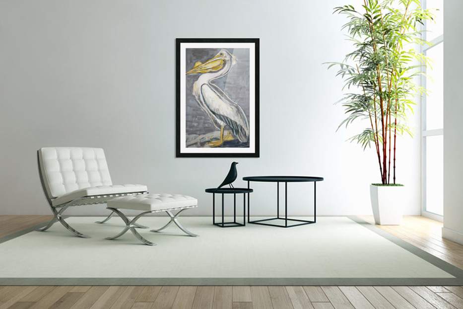Louisiana White Pelican with Metallic Silver in Custom Picture Frame