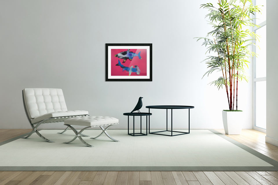 TWO HUNGRY SHARKS in Custom Picture Frame