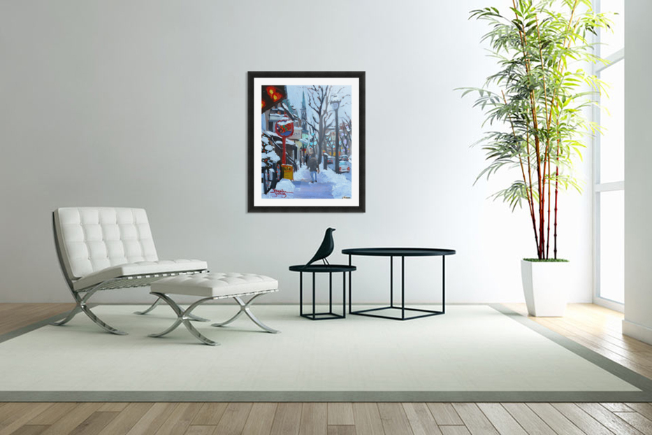 Montreal Winter St-Denis in Custom Picture Frame