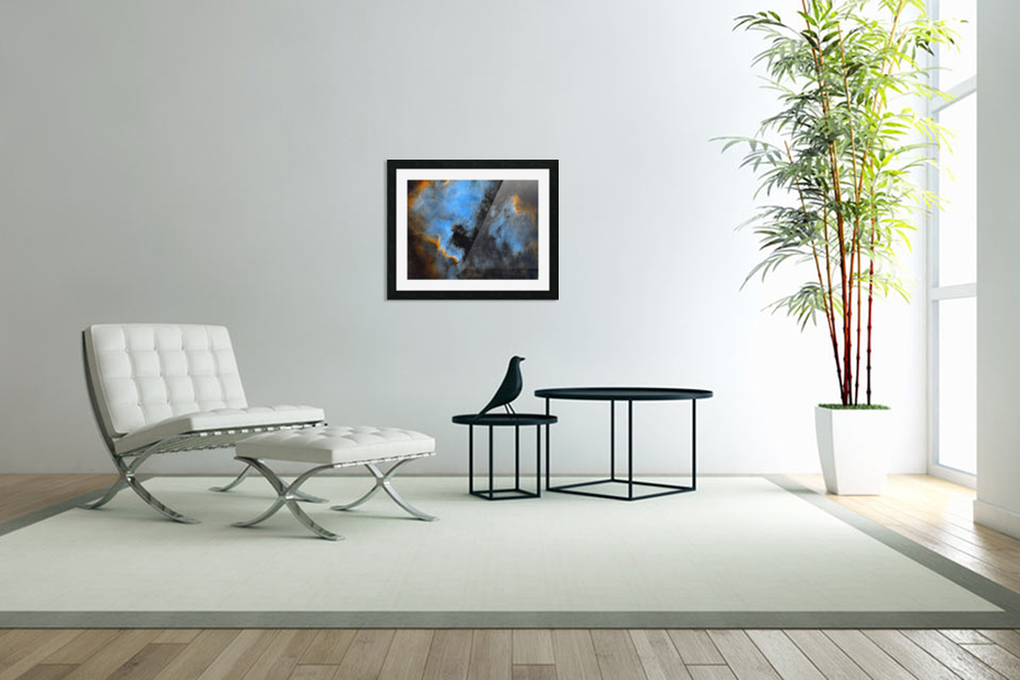 North American and Pelican Nebula in Custom Picture Frame