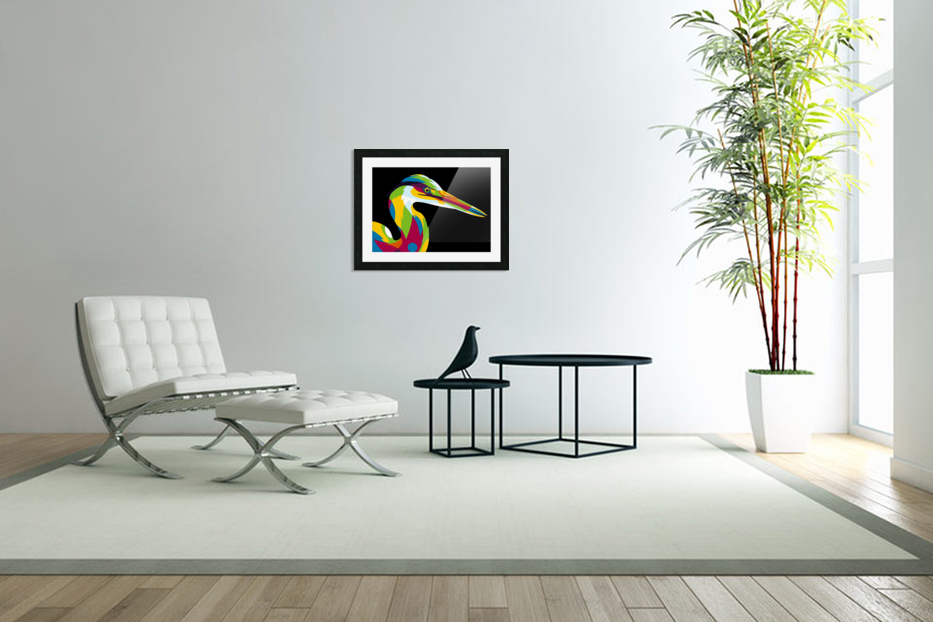 Great Heron in Pop Art Style in Custom Picture Frame