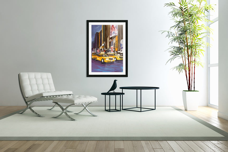 Cabs at Night in Custom Picture Frame