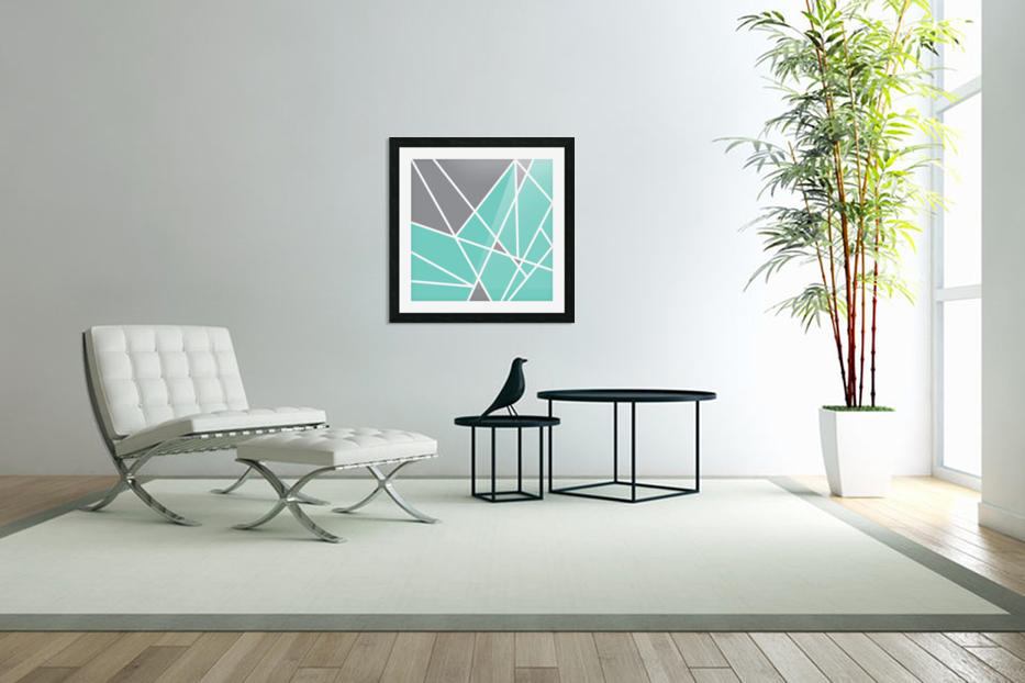 Gray Teal Triangles Geometric Art GAT101 square in Custom Picture Frame