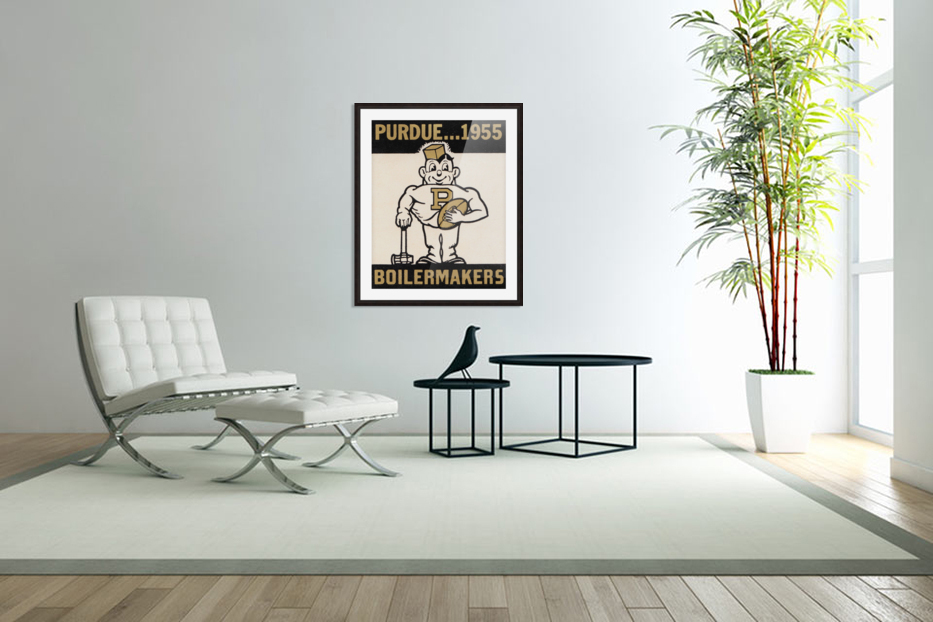 Vintage Purdue Boilermakers Art Print in Custom Picture Frame