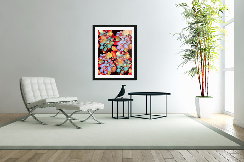 Harlequin Flowers in Watercolor in Custom Picture Frame