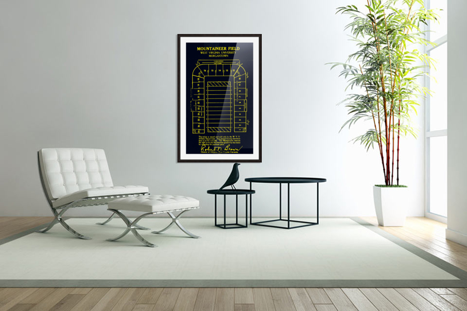 1967 Moutaineer Field Map Art in Custom Picture Frame