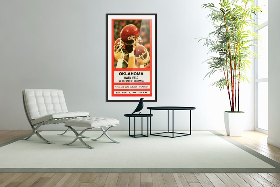 1984 Oklahoma Sooners Football Ticket Wall Art in Custom Picture Frame