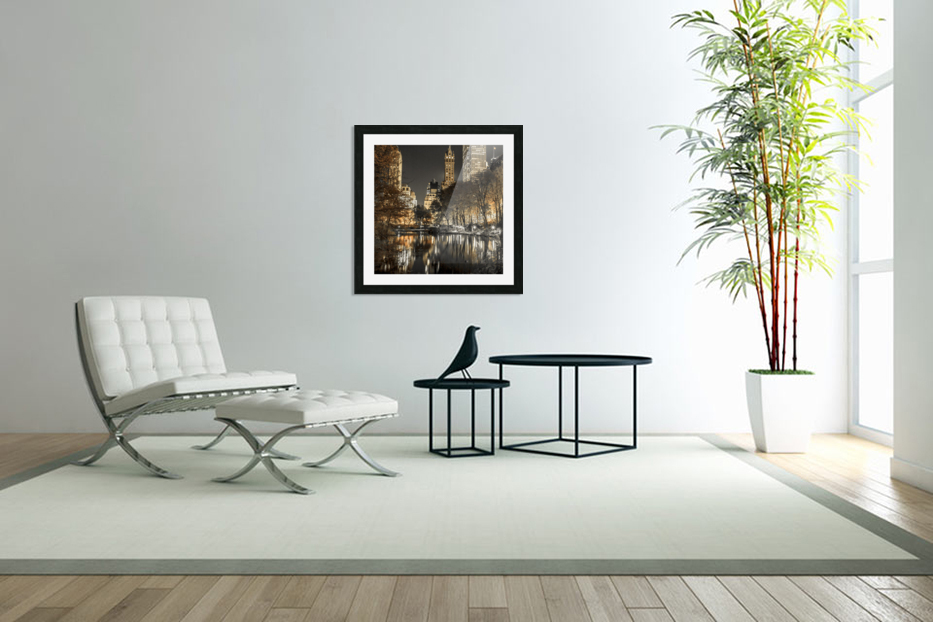 Evening view of Central Park in New York City in Custom Picture Frame