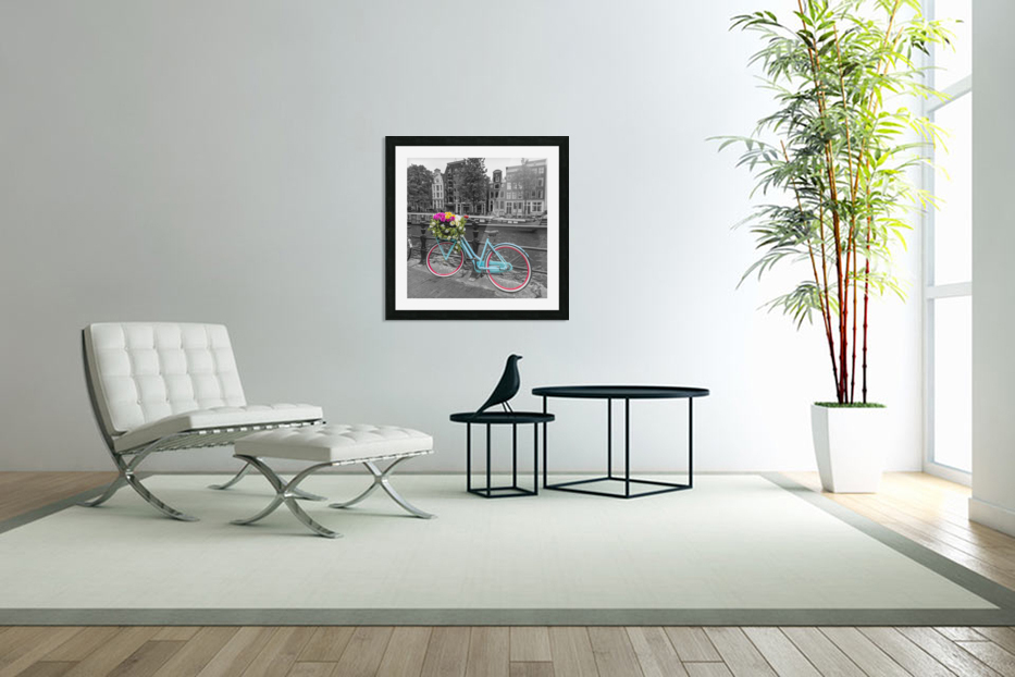 Bicycle with bunch of roses on bridge, Amsterdam in Custom Picture Frame
