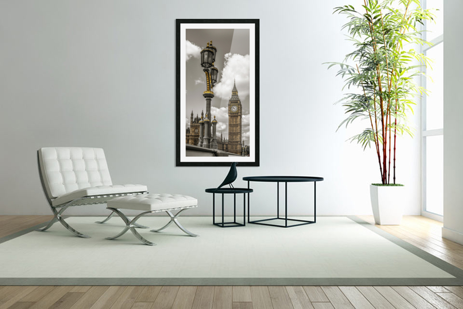 Street lamp with Big Ben in background, London, UK in Custom Picture Frame