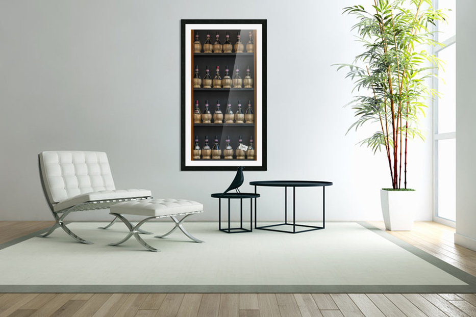 Old wine bottles on wooden shelf in Custom Picture Frame