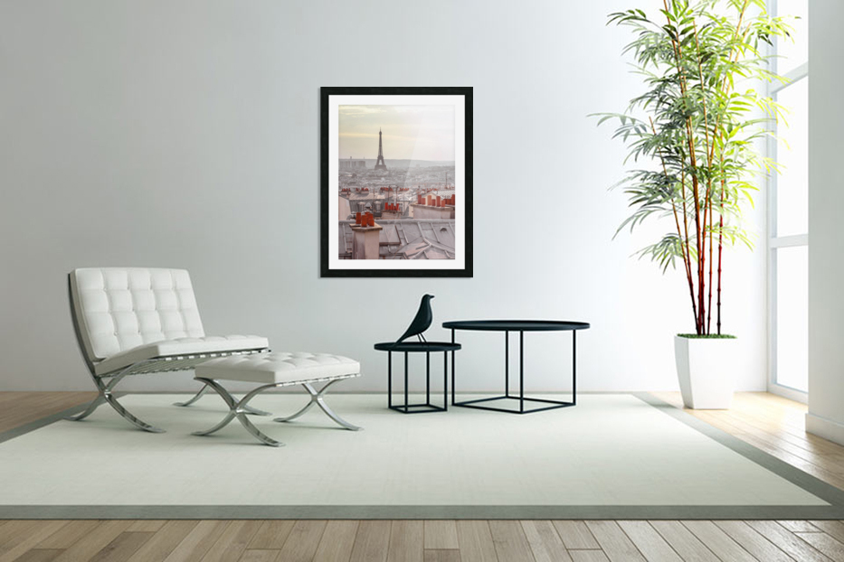 Eiffel Tower seen through the window of an apartment in Montmartre, Paris, France in Custom Picture Frame