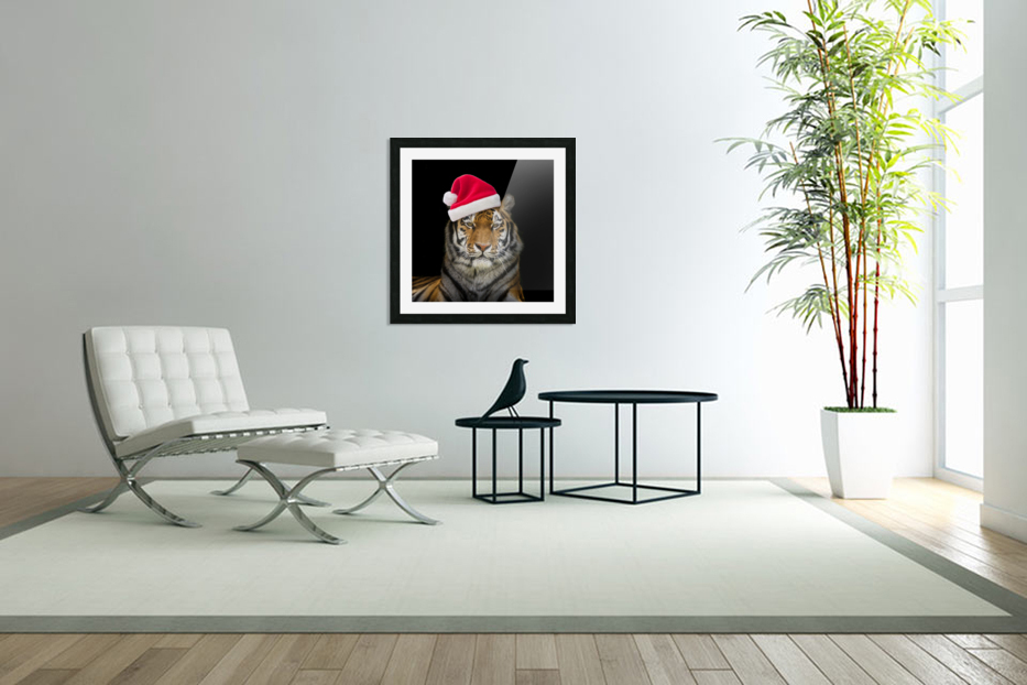 Tiger with Santa hat in Custom Picture Frame