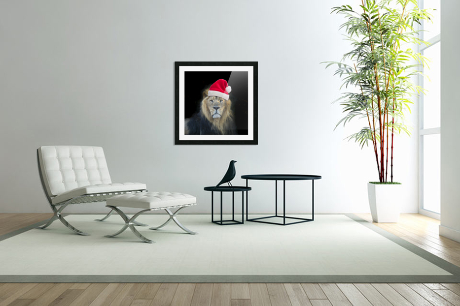 Lion with Santa hat in Custom Picture Frame