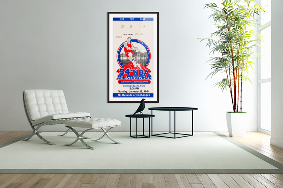 1984 NBA All-Star Game Ticket in Custom Picture Frame
