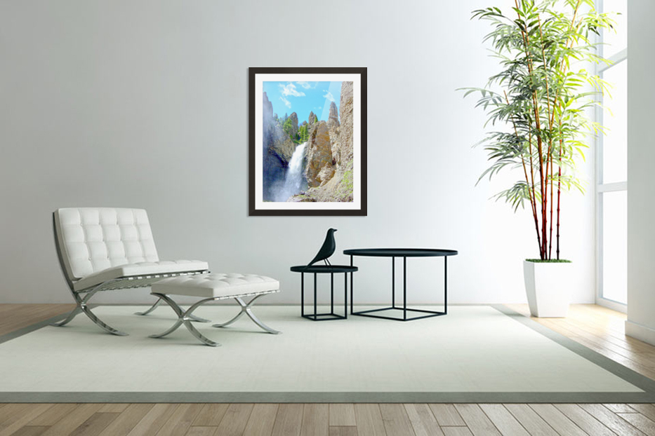 Yellowstone Waterfall - Grand Canyon of the Yellowstone River - Yellowstone National Park in Custom Picture Frame