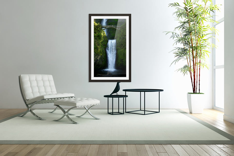 Multnomah Waterfalls Oregon in Custom Picture Frame
