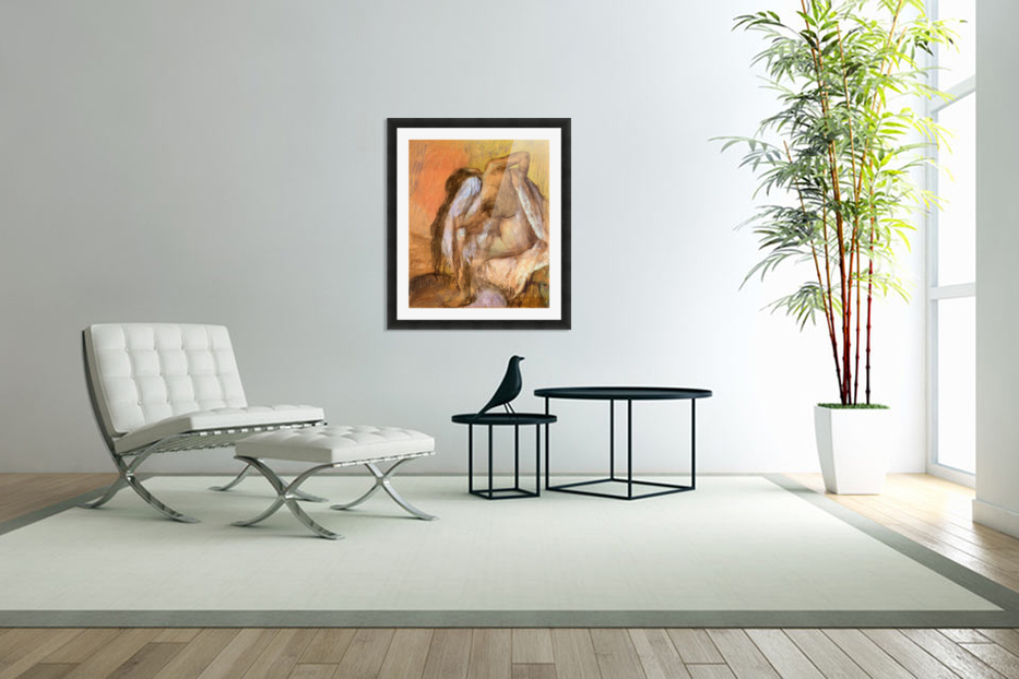 Seated female nude drying neck and back by Degas in Custom Picture Frame