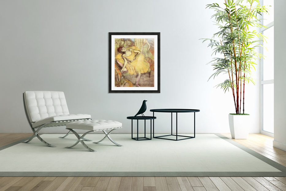 Sitting dancer with the right leg up by Degas in Custom Picture Frame