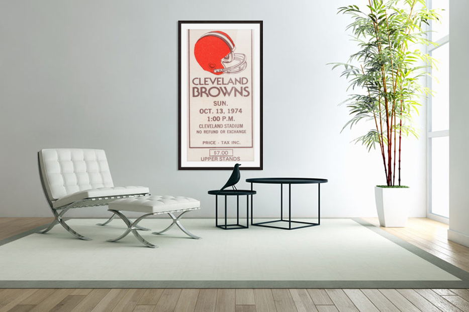 1974 Cleveland Browns Ticket Stub Art in Custom Picture Frame