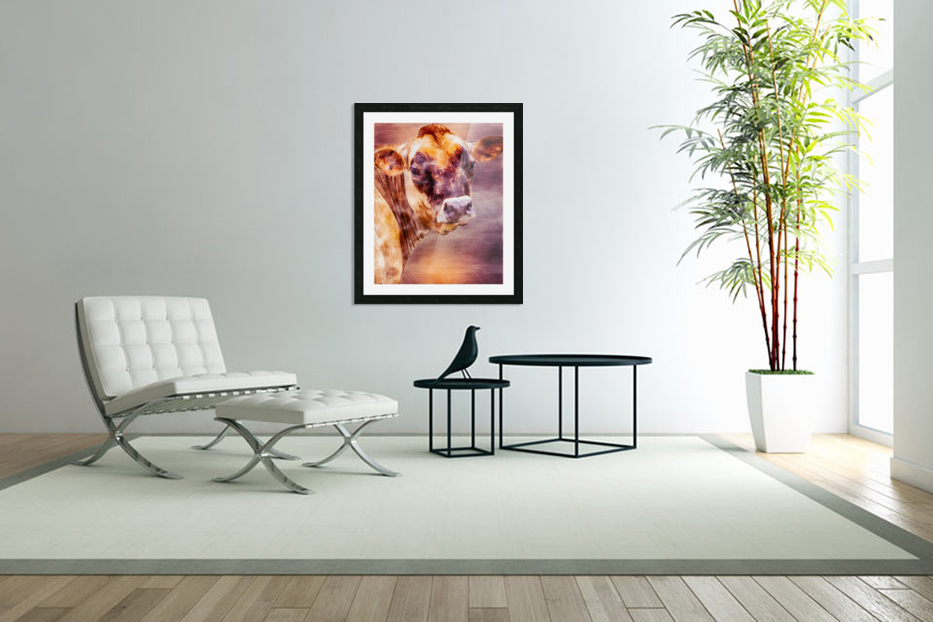 Beautiful Dairy Cow in Custom Picture Frame