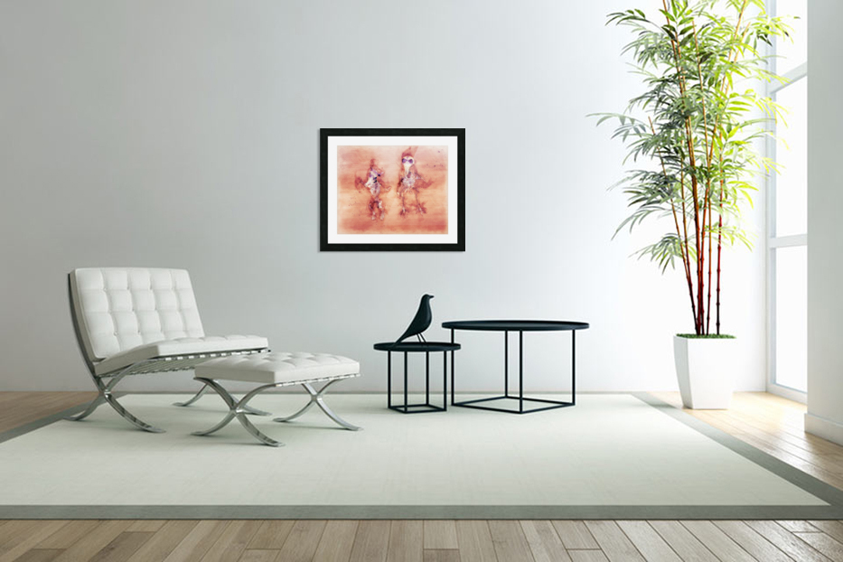 Dead Dancing Mouse and Crow Skeletons in Custom Picture Frame