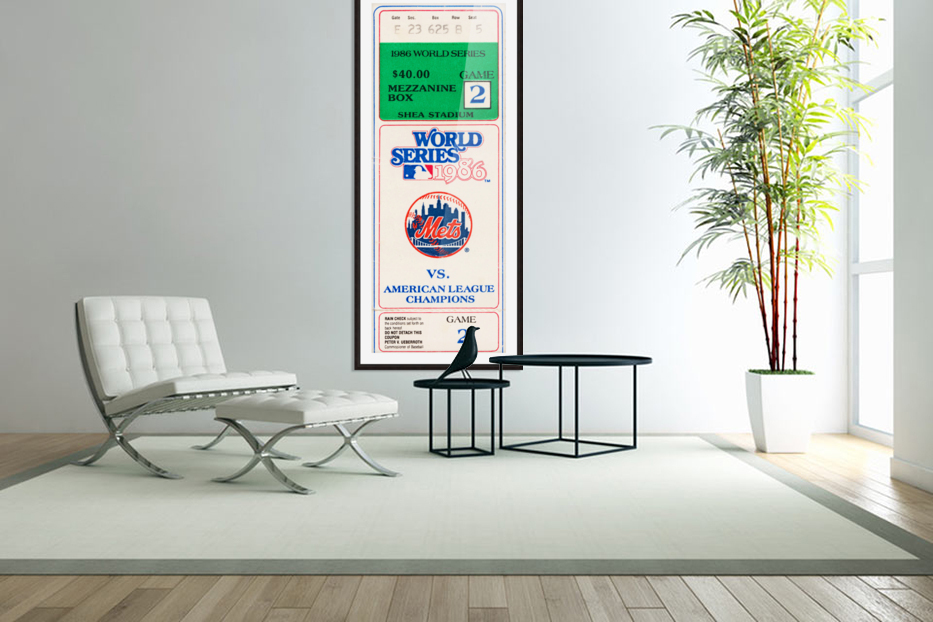 1986 New York Mets World Series Ticket Wall Art in Custom Picture Frame