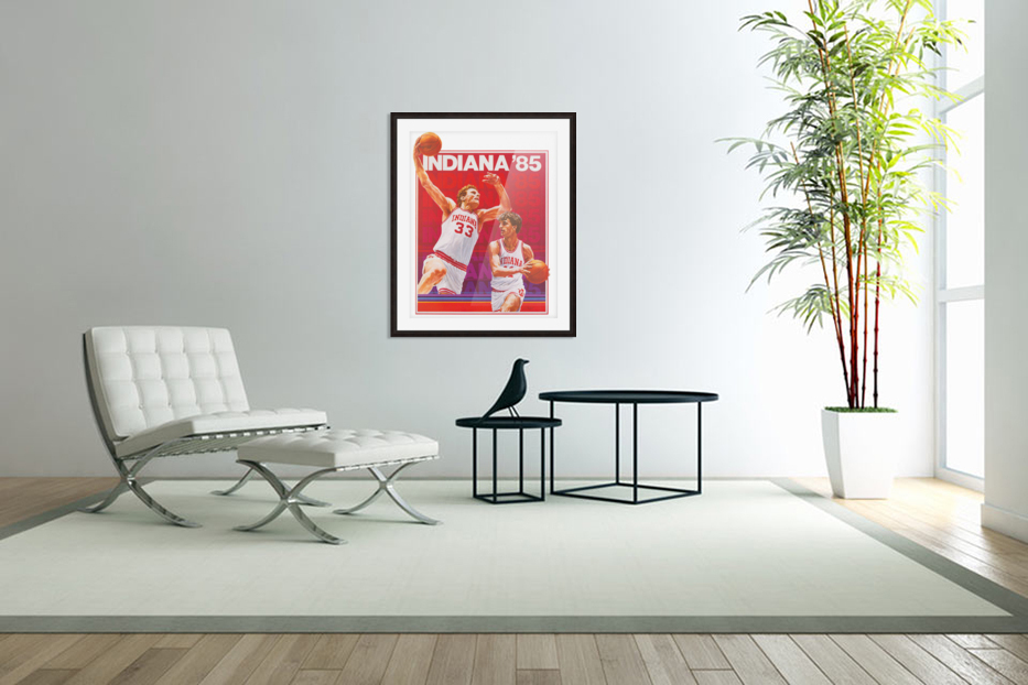 1985 Indiana Hoosiers Basketball Art in Custom Picture Frame