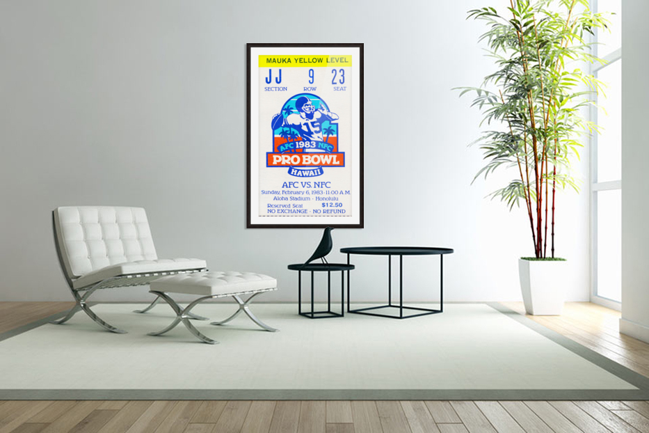 1983 Pro Bowl Ticket Stub Wall Art in Custom Picture Frame