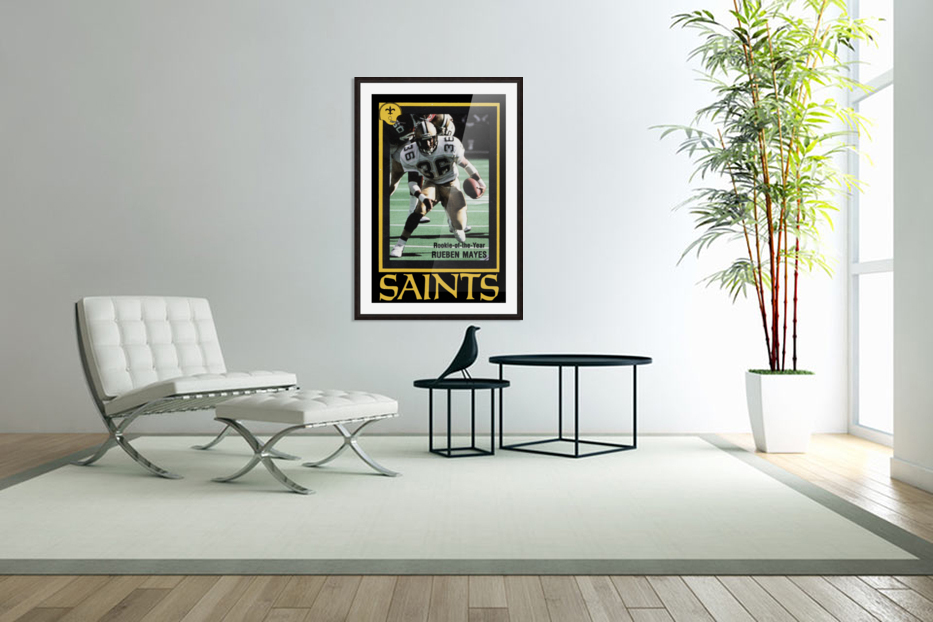 1988 New Orleans Saints Reuben Mayes Poster in Custom Picture Frame