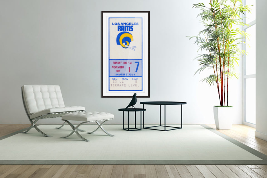 1981 Los Angeles Rams Ticket Stub Art in Custom Picture Frame