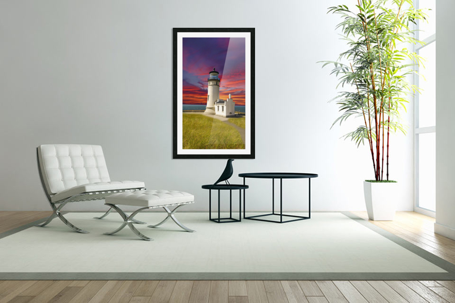 The LightHouse at Sunset in Custom Picture Frame