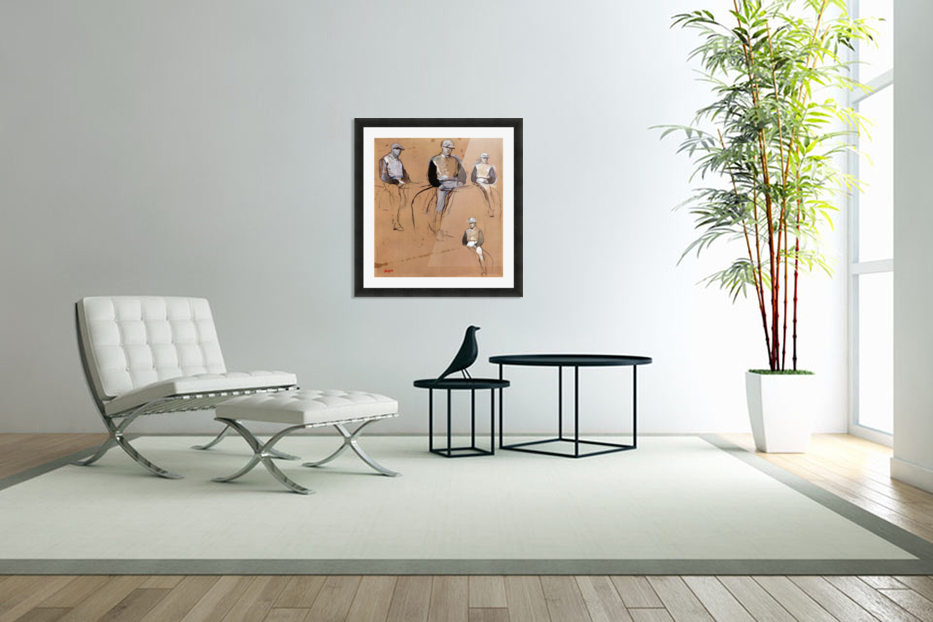Study with four jockeys by Degas in Custom Picture Frame